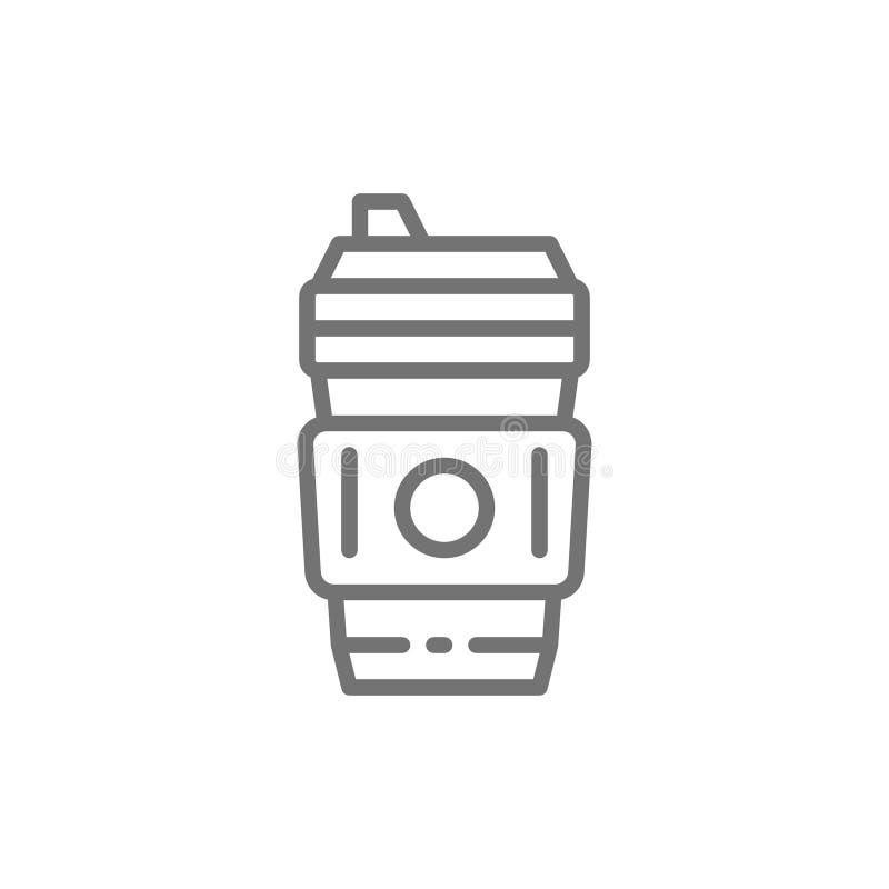 Rozporz?dzalna fili?anka z gor?cym napojem, kawowa takeaway linii ikona ilustracja wektor