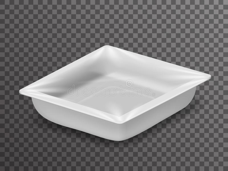Rozporządzalna paczka odizolowywający jedzenie 3d pakunku isometric realistyczny sklepowy pudełko z cienia mockup tła przejrzysty ilustracji