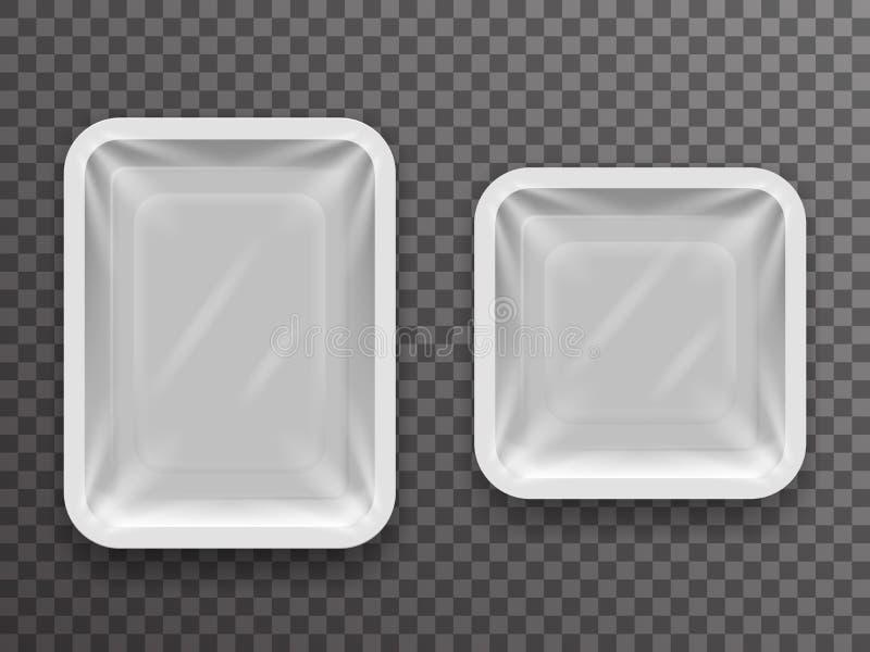 Rozporządzalna paczka odizolowywający jedzenie 3d pakunku realistyczny sklepowy pudełko z cienia mockup tła projekta przejrzystym ilustracji