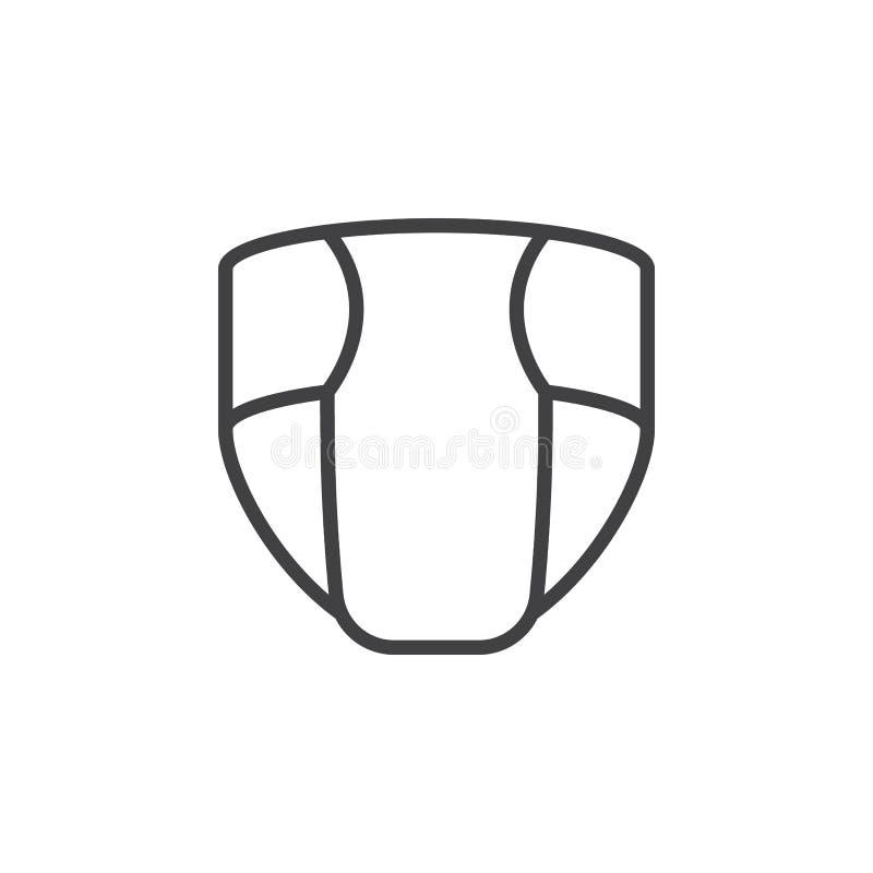 Rozporządzalna pielucha, pieluszki kreskowa ikona, konturu wektoru znak, liniowy stylowy piktogram odizolowywający na bielu royalty ilustracja