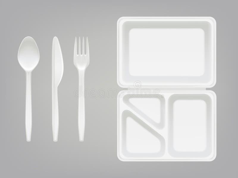 Rozporządzalna plastikowa lunchbox, cutlery wektorowa ilustracja i, odizolowywał 3D realistycznego ilustracji