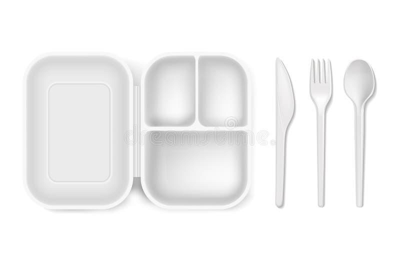 Rozporządzalna plastikowa wektorowa ilustracja lunchu pudełko, cutlery łyżka, nóż i rozwidlenie, odizolowywał 3D realistyczny odo royalty ilustracja