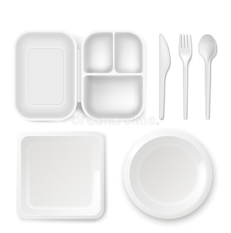 Rozporządzalnego plastikowego dishware wektorowa ilustracja 3D lunchbox realistyczny talerz, cutlery łyżka, nóż i rozwidlenie odi ilustracja wektor