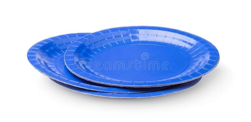 Rozporządzalni talerze odizolowywający na bielu obrazy stock