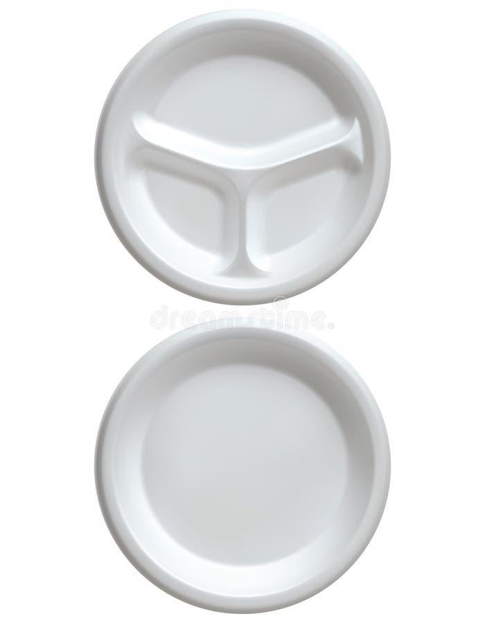 Rozporządzalny biały klingerytu talerz, ilustracja wektor