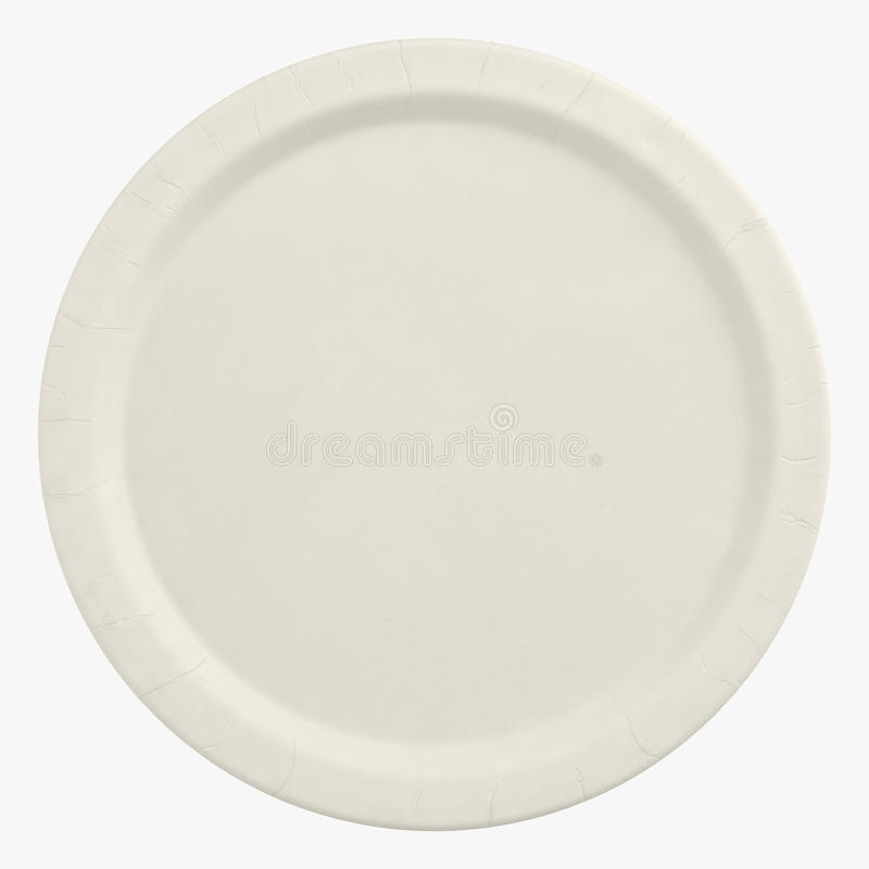 Rozporządzalny papierowy talerz odizolowywający na białej 3D ilustraci ilustracja wektor