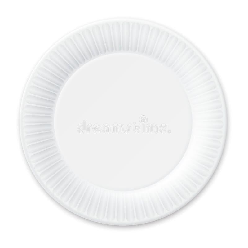 Rozporządzalny Papierowy talerz. Odizolowywający na bielu. ilustracja wektor