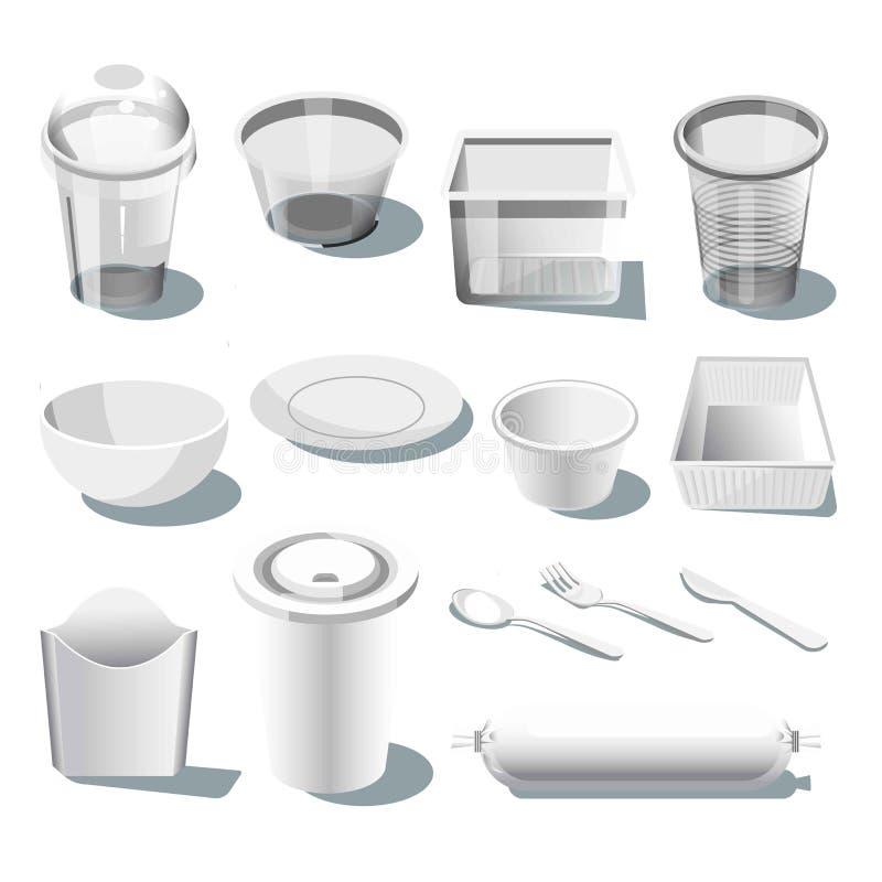 Rozporządzalny plastikowy dishware lub tableware odizolowywaliśmy realistyczne ikony royalty ilustracja