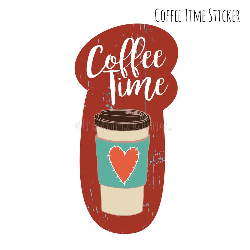 Rozporządzalny szkło kawa z ślicznym wygodnym i białym szyldowym Kawowym czasem na Burgundy tle zdjęcia stock
