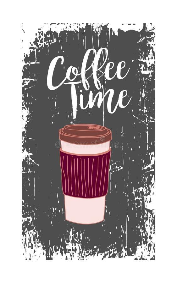 Rozporządzalny szkło kawa z Burgundy wygodnym i białym szyldowym Kawowym czasem na szarym porysowanym tle zdjęcie stock