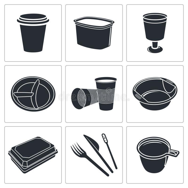 Download Rozporządzalna Tableware Ikony Kolekcja Ilustracja Wektor - Ilustracja złożonej z tło, post: 42525583