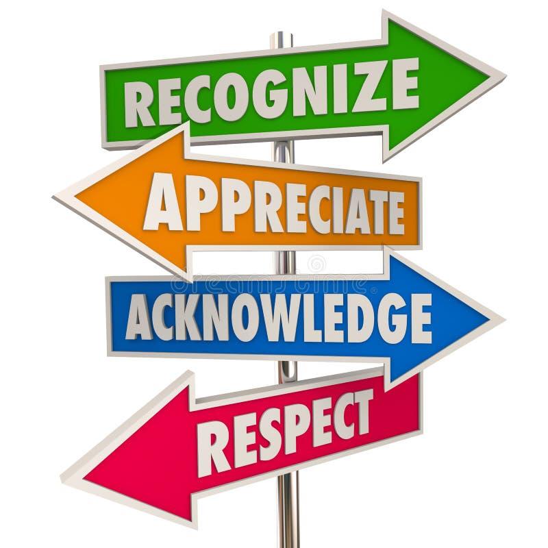 Rozpoznaje docenienie Uznaje szacunek znaki ilustracji