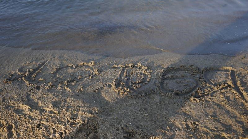 Rozpoznanie miłość piaska Baikal szamanu lata wody jeziorna plaża zdjęcia stock