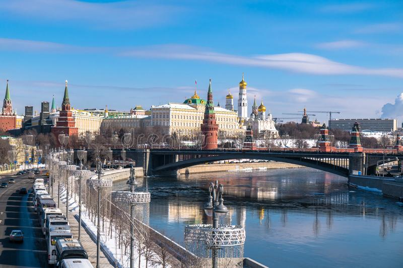 Rozpoznawalny Moskwa panoramiczny widok Rosja obraz stock