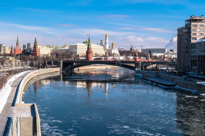 Rozpoznawalny Moskwa panoramiczny widok Rosja obrazy royalty free