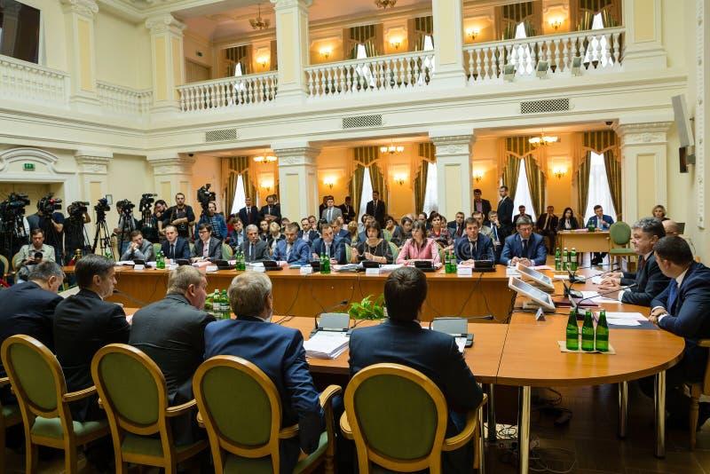 Rozprężona sesja gabinet ministrowie Ukraina zdjęcia stock