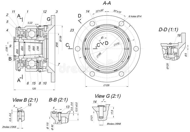 Rozprężony pelengu nakreślenie Inżynieria rysunek ilustracji