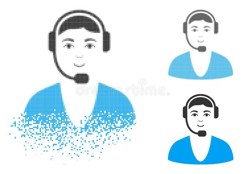 Rozpraszająca kropki Halftone centrum telefonicznego faceta ikona z twarzą ilustracji