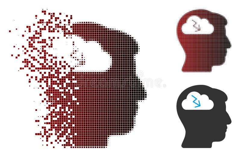 Rozpraszająca piksla Halftone Brainstorming ikona ilustracja wektor