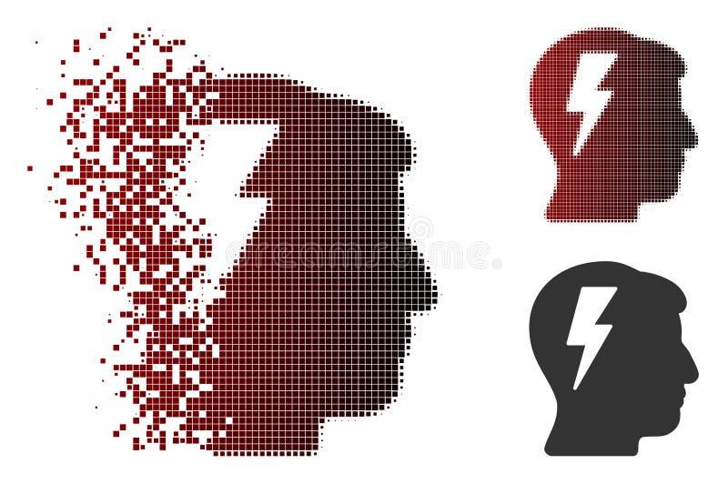 Rozpraszająca piksla Halftone Brainstorming ikona ilustracji