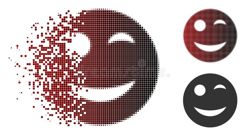 Rozpraszająca piksla Halftone mrugnięcia Smiley ikona royalty ilustracja