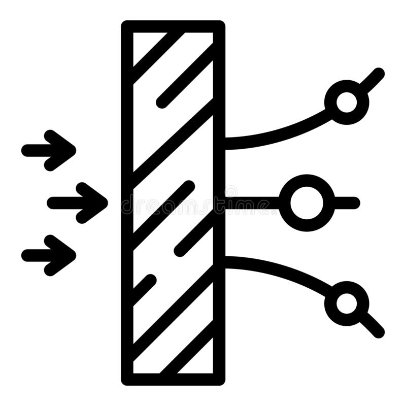 Rozproszona obiektywu bocznego widoku ikona, konturu styl royalty ilustracja