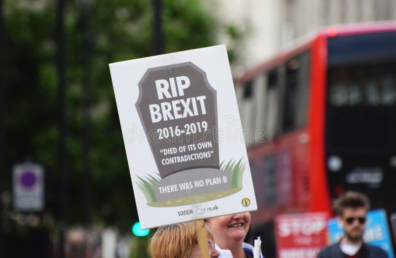 ROZPRUCIA Brexit sztandar w Londyńskim Westminister Lipiec 2019 obrazy stock