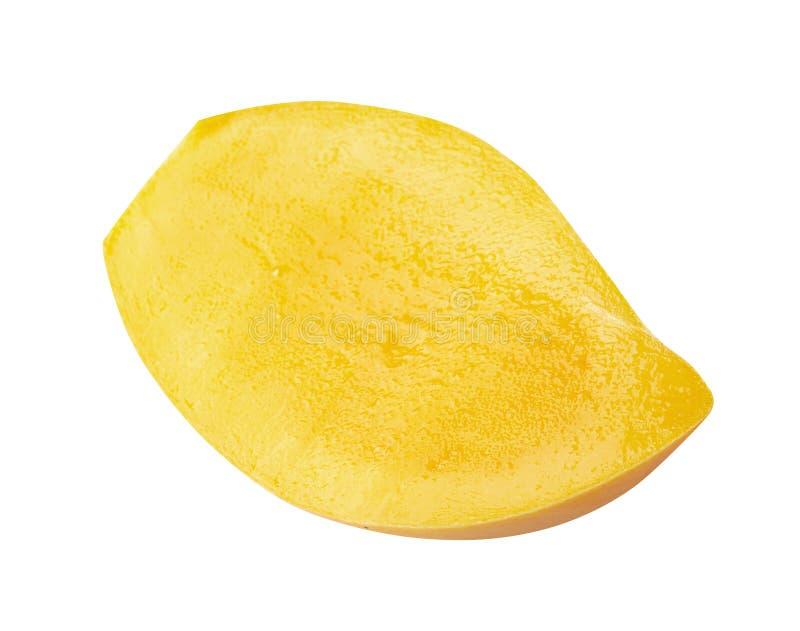 Rozprucie mango plasterki Odizolowywający na białym tle zdjęcie stock