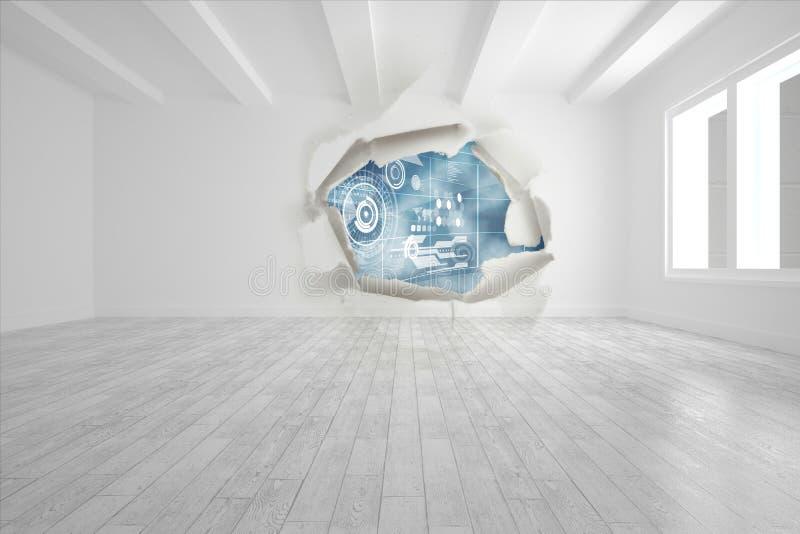Rozprucie na ściennym pokazuje technologia interfejsie ilustracji