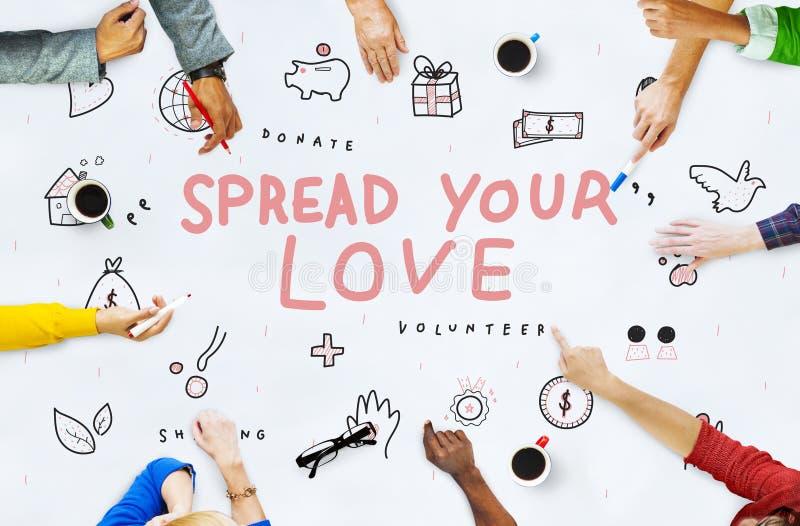 Rozprzestrzenia Twój miłość darowizn dobroczynności poparcia pojęcie