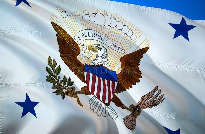 Rozpusta - prezydent flaga 3D falowania flaga projekt Krajowy symbol usa, 3D rendering USA 3D falowania znaka projekt Machać znak zdjęcie stock
