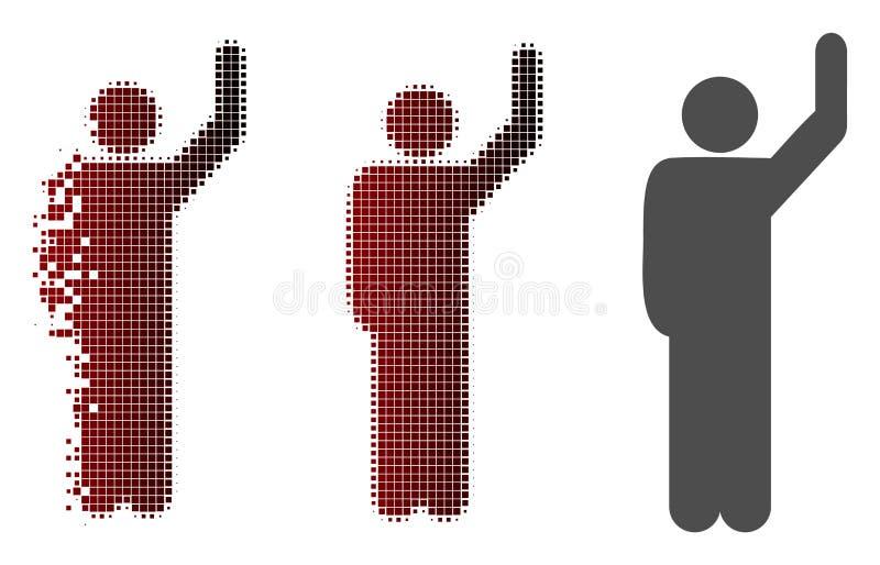 Rozpuszczać Pixelated Halftone Hitchhike pozy ikonę ilustracja wektor