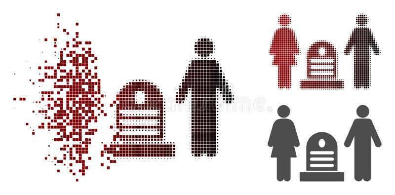 Rozpuszczać Pixelated Halftone Rodzinną Cmentarnianą ikonę royalty ilustracja