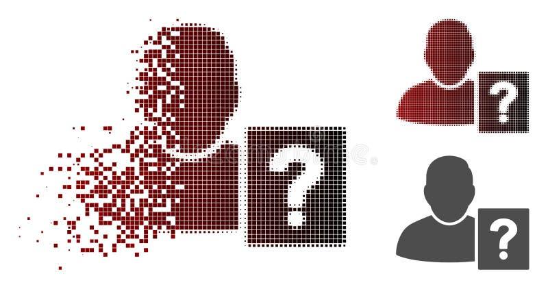 Rozpuszczać Pixelated Halftone użytkownika statusu pytania ikonę ilustracji
