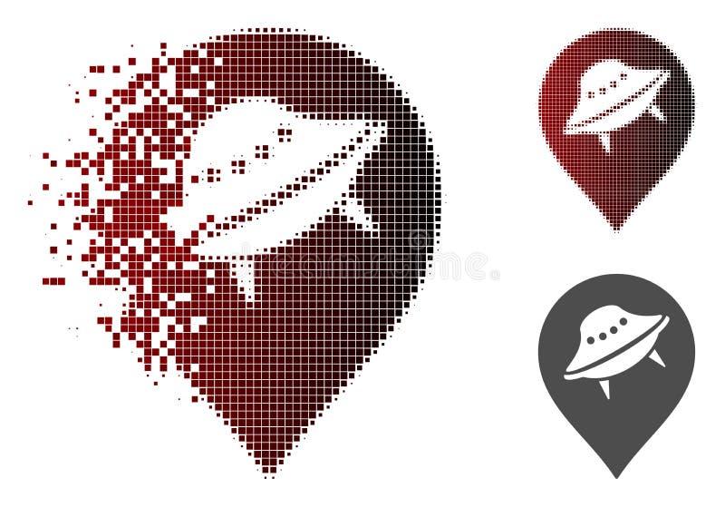 Rozpuszczać Pixelated Halftone UFO markiera ikonę ilustracji
