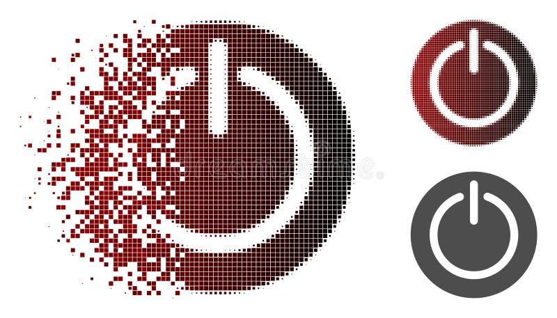 Rozpuszczający Pixelated Halftone Obraca Daleko władzy ikonę ilustracji