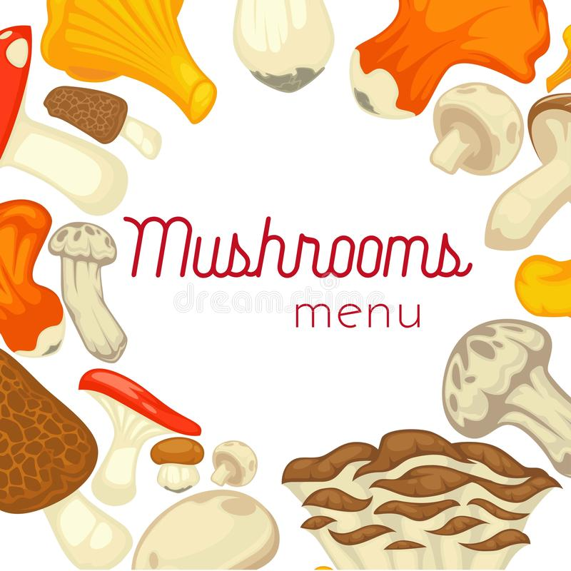 Rozrasta się jadalnego grzybobranie plakat Wektorowy płaski szampinion, borowiki, lasu homar i chanterelle i my rozrastamy się ilustracja wektor