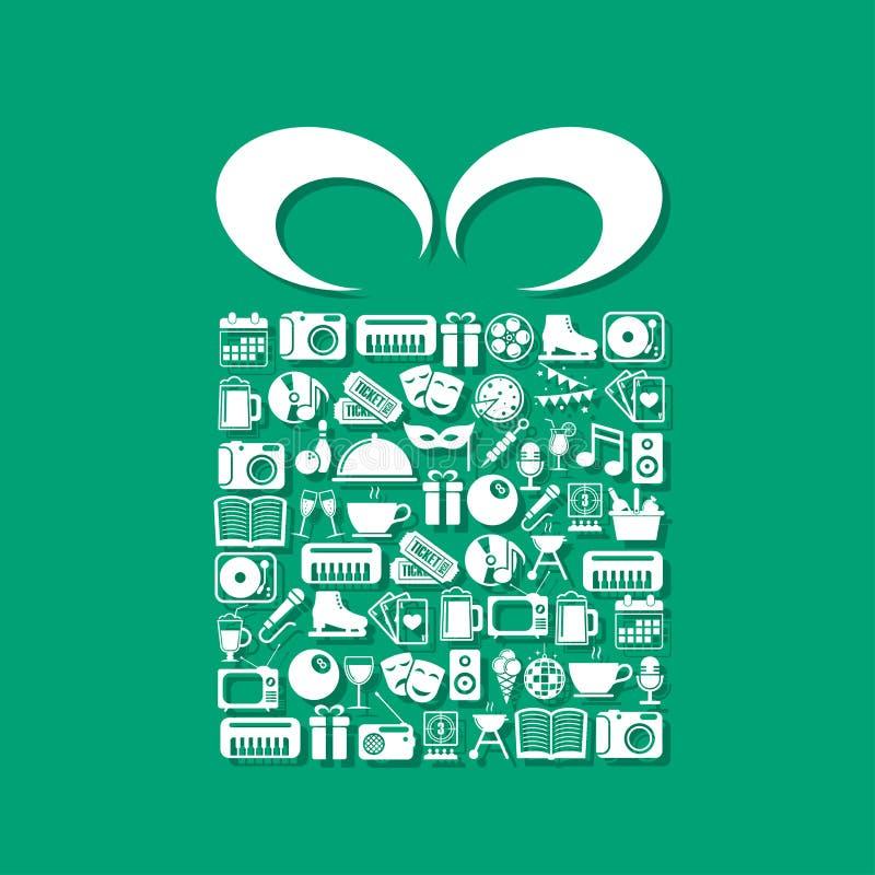 Download Rozrywek Ikony W Prezenta Pudełku Ilustracja Wektor - Ilustracja złożonej z rozrywka, kalendarz: 53781877
