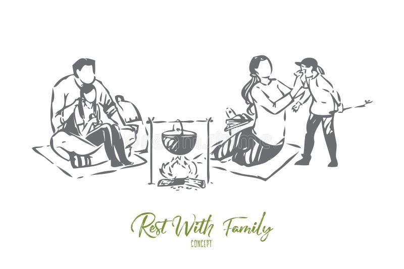 Rozrywka z rodzinnego pojęcia nakreśleniem royalty ilustracja