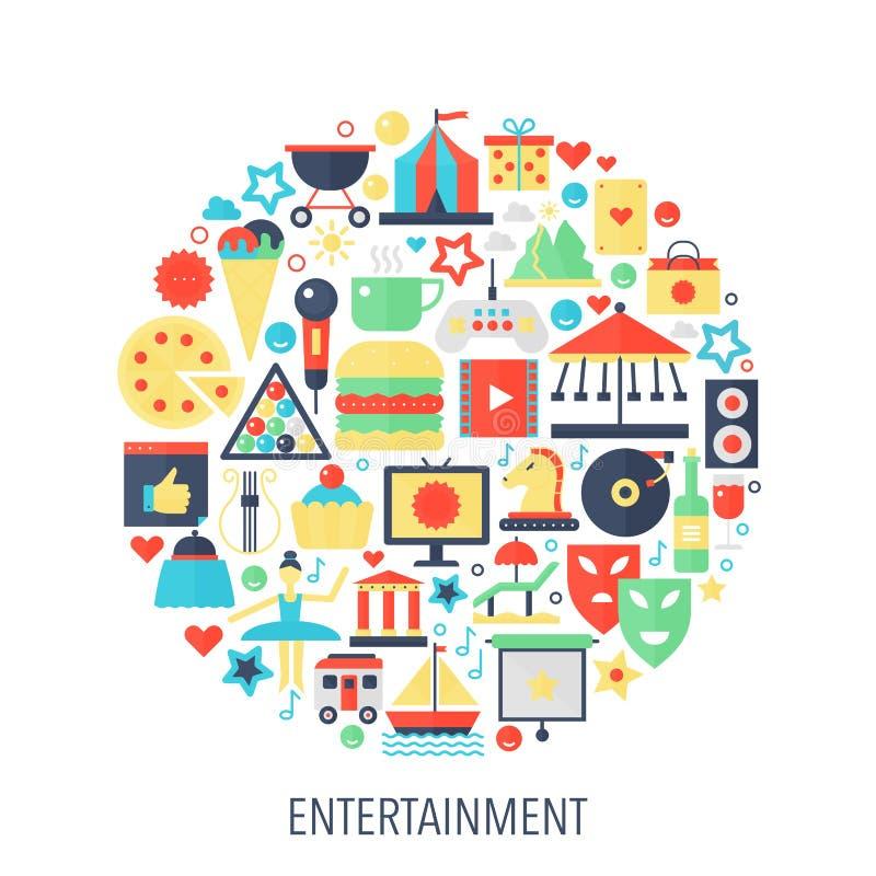 Rozrywki infographics płaskie ikony w okręgu - barwi pojęcie ilustrację dla rozrywki pokrywy, emblemat, szablon ilustracji