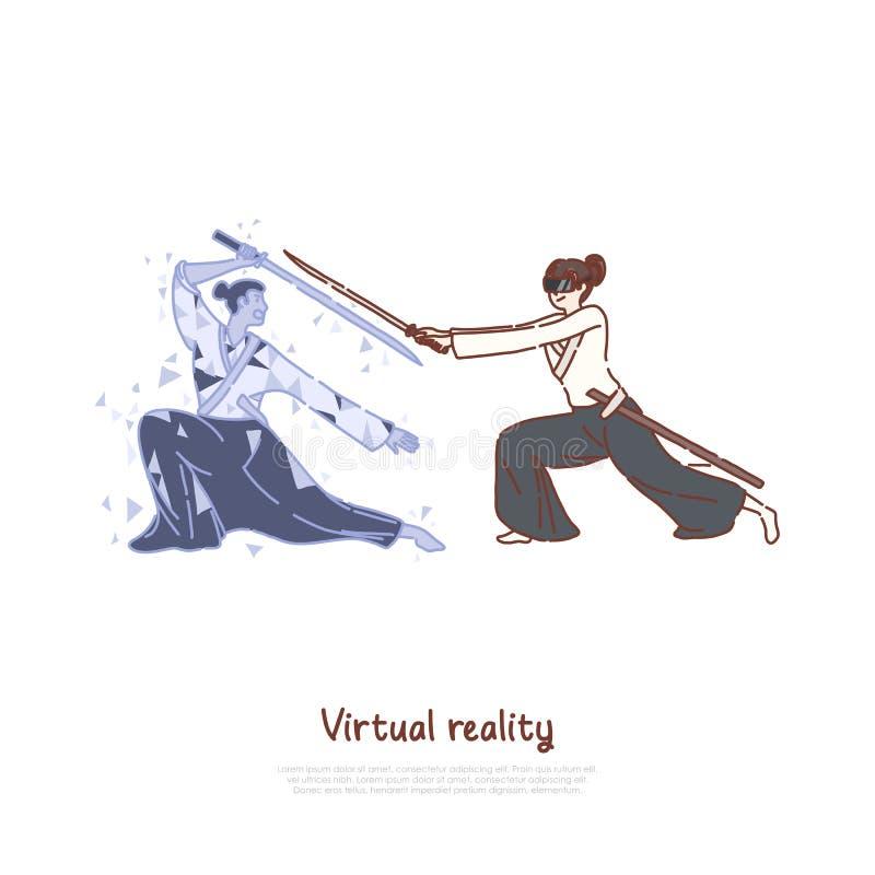 Rozrywki technologia, kobieta w słuchawki, samuraja holograma mienia broń, program szkoleniowy, VR gra wideo sztandar ilustracji