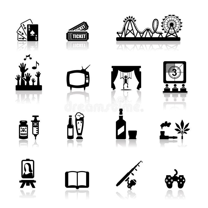Rozrywki zabawy ikony ustawiają