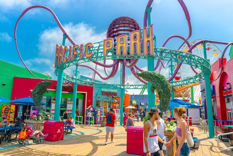 Rozrywkowy Pacyfik park na Snata Monica molu Los Angeles california zdjęcie stock
