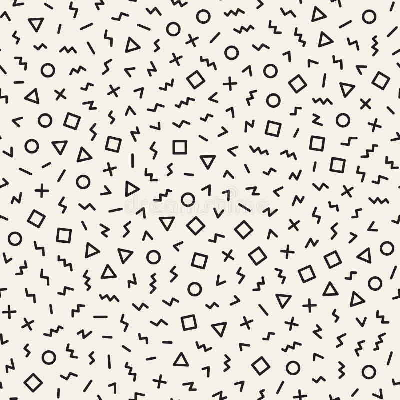 Rozrzuceni Geometryczni kształty Inspirujący Memphis stylem projekt abstrakcyjne tło Wektorowy Bezszwowy Czarny I Biały ilustracji
