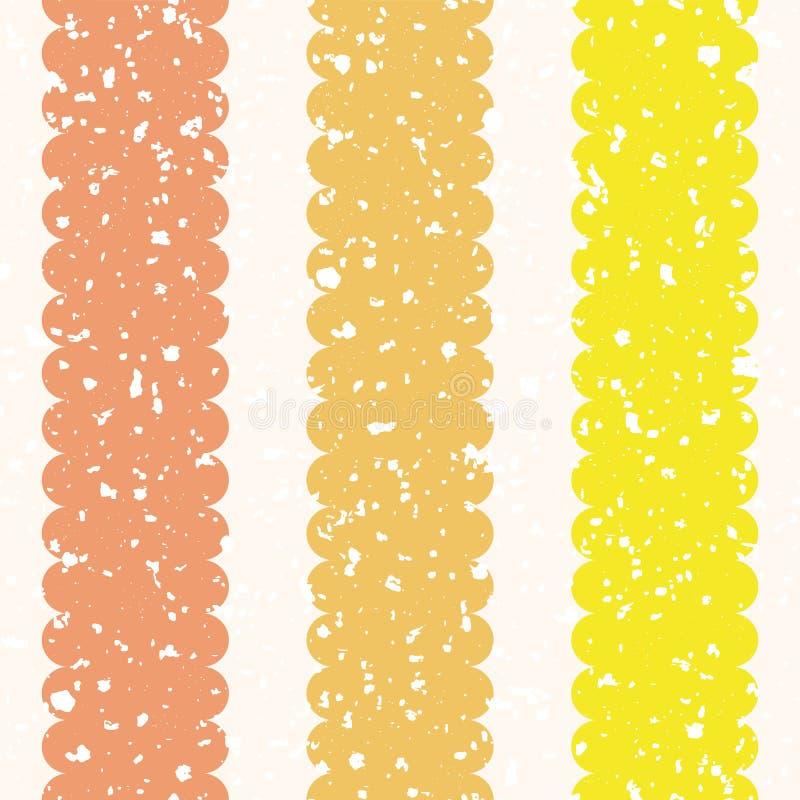 Rozrzucona bielu muśnięcia tekstura na scalloped pomarańcze i żółtych pionowo lampasach Bezszwowy geometryczny wektoru wzór dalej ilustracji