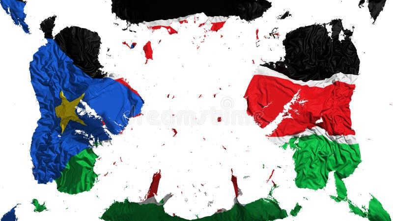 Rozrzucona Południowa Sudan flaga ilustracji