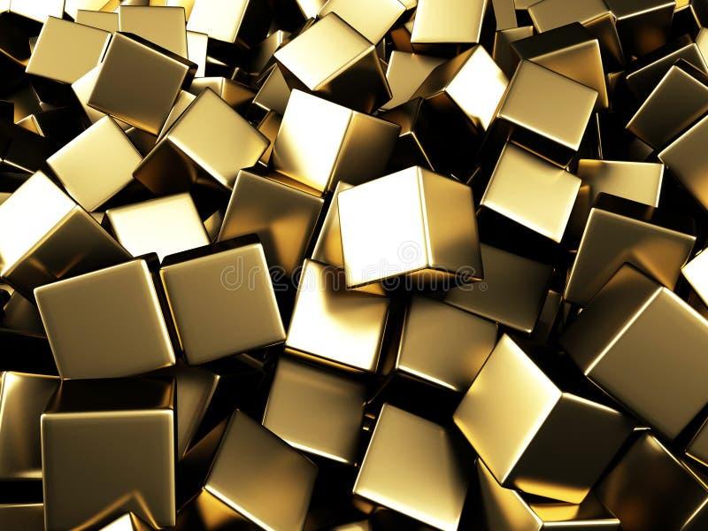Rozrzuconych złotych sześcianów chaotyczny tło ilustracji