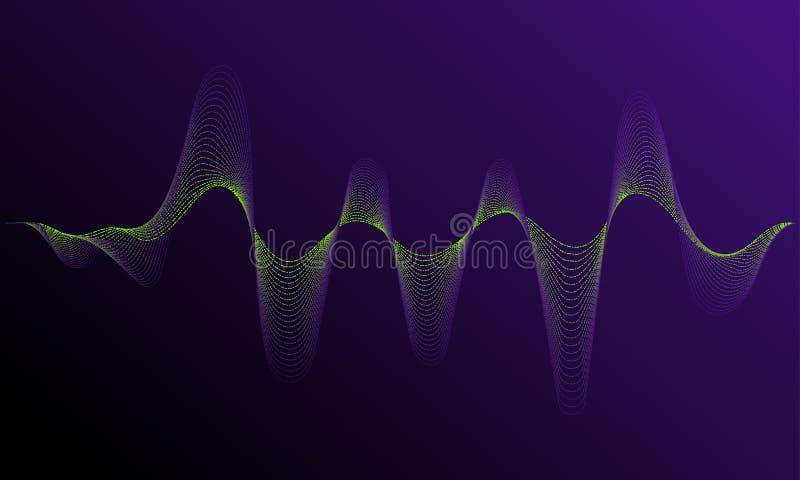 Rozsądny częstotliwości waveform Dynamiczny światło przepływ z neonowym lekkim skutkiem ilustracja wektor