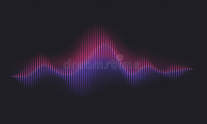 rozsądna abstrakcyjna fale Wypowiada cyfrowego waveform, tomowa głos technologii wibrująca fala Muzyki rozsądny energetyczny wekt ilustracja wektor