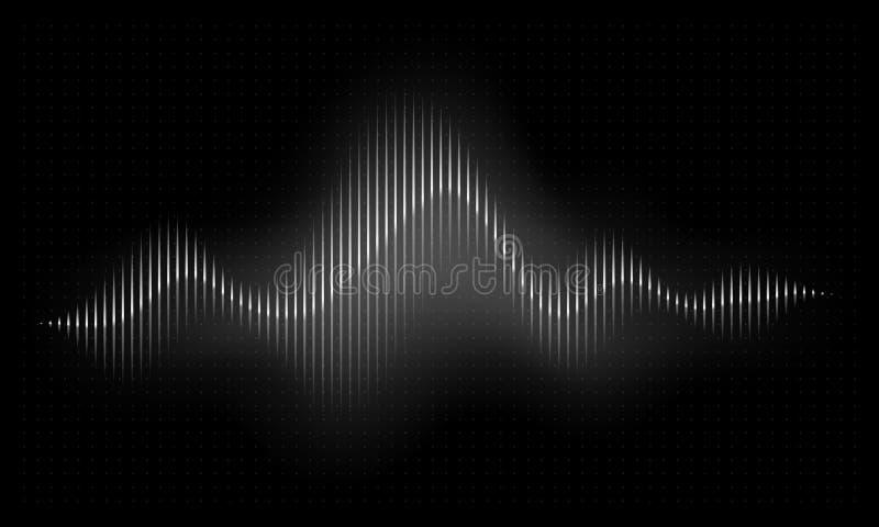 Rozsądna fala Abstrakcjonistyczny muzyczny pulsu tło Audio głosu rytmu radi fala, częstotliwości widma wektoru ilustracja ilustracja wektor